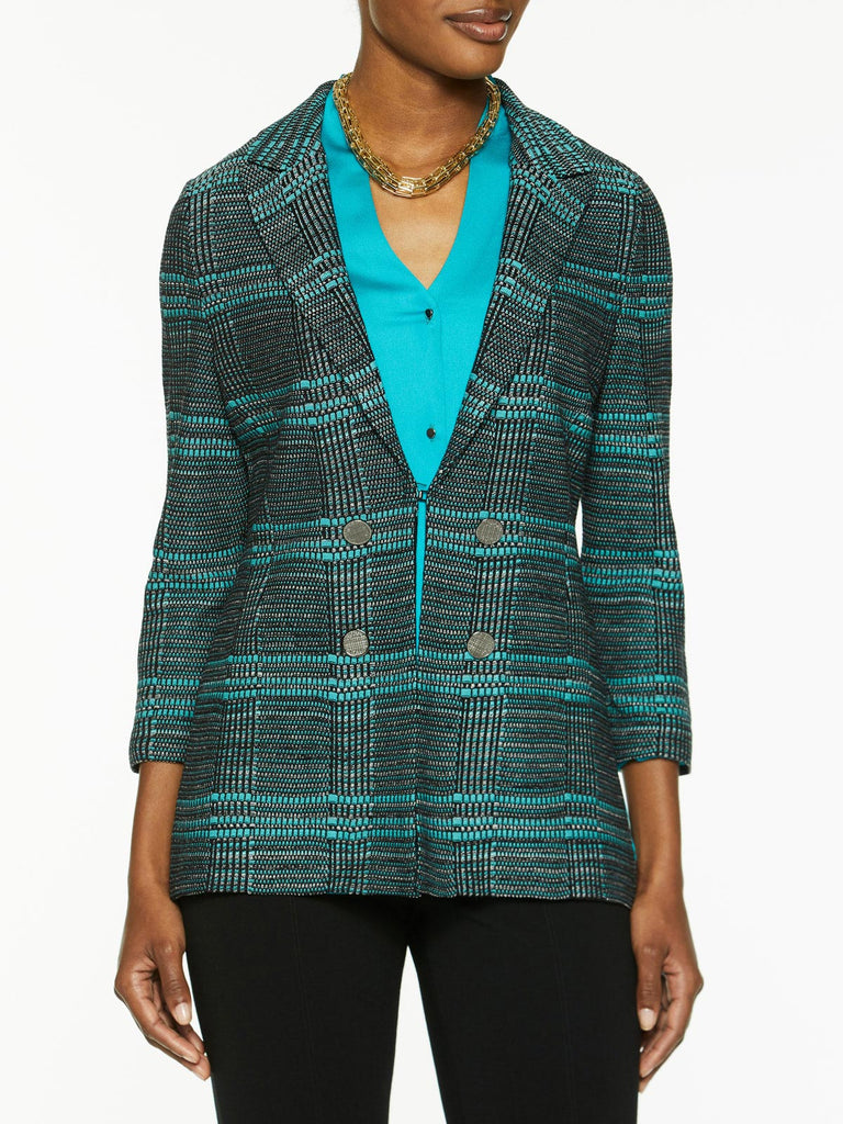 Plus Size Button Trim Plaid Knit Jacket