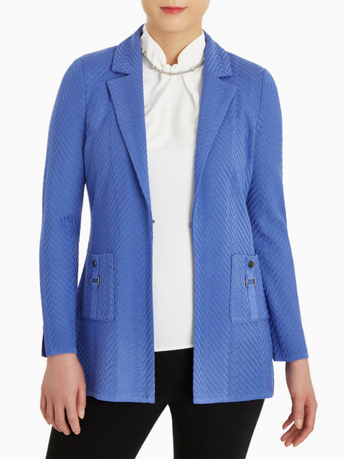 Metal Accent Pocket Knit Jacket-Misook