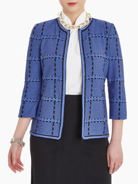 Whipstitch Windowpane Knit Jacket-Misook