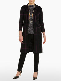Windowpane Knit Duster-Misook