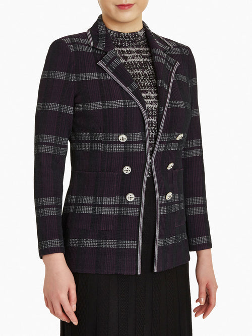 Button Trim Plaid Jacquard Knit Jacket-Misook