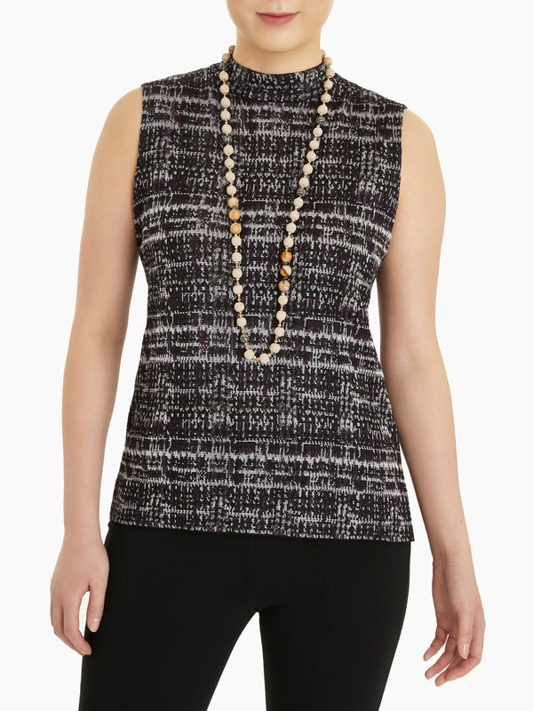 Mock Neck Jacquard Knit Tank Top-Misook