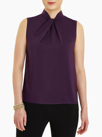 Twisted Knot Crepe de Chine Blouse, Ultraviolet