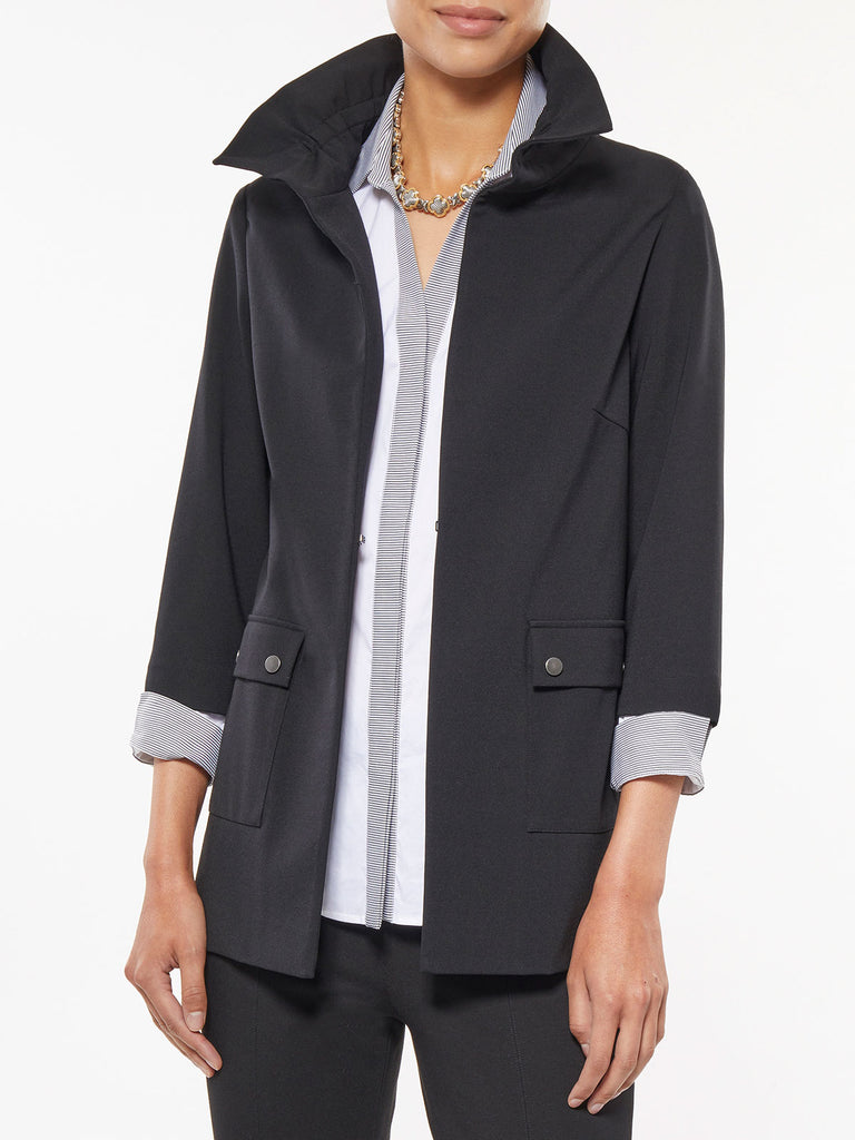 Ruffle Neck Seasonless Ponte Jacket – Misook