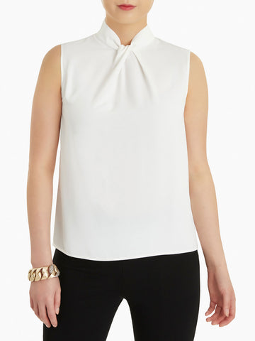 Twisted Knot Crepe de Chine Blouse, White