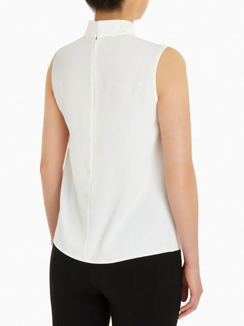 Twisted Knot Crepe de Chine Blouse, White – Misook