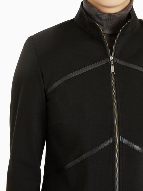 Faux Leather Zip-Up Ponte Jacket