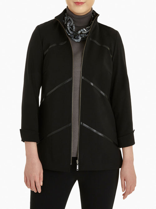 Faux Leather Zip-Up Ponte Jacket – Misook
