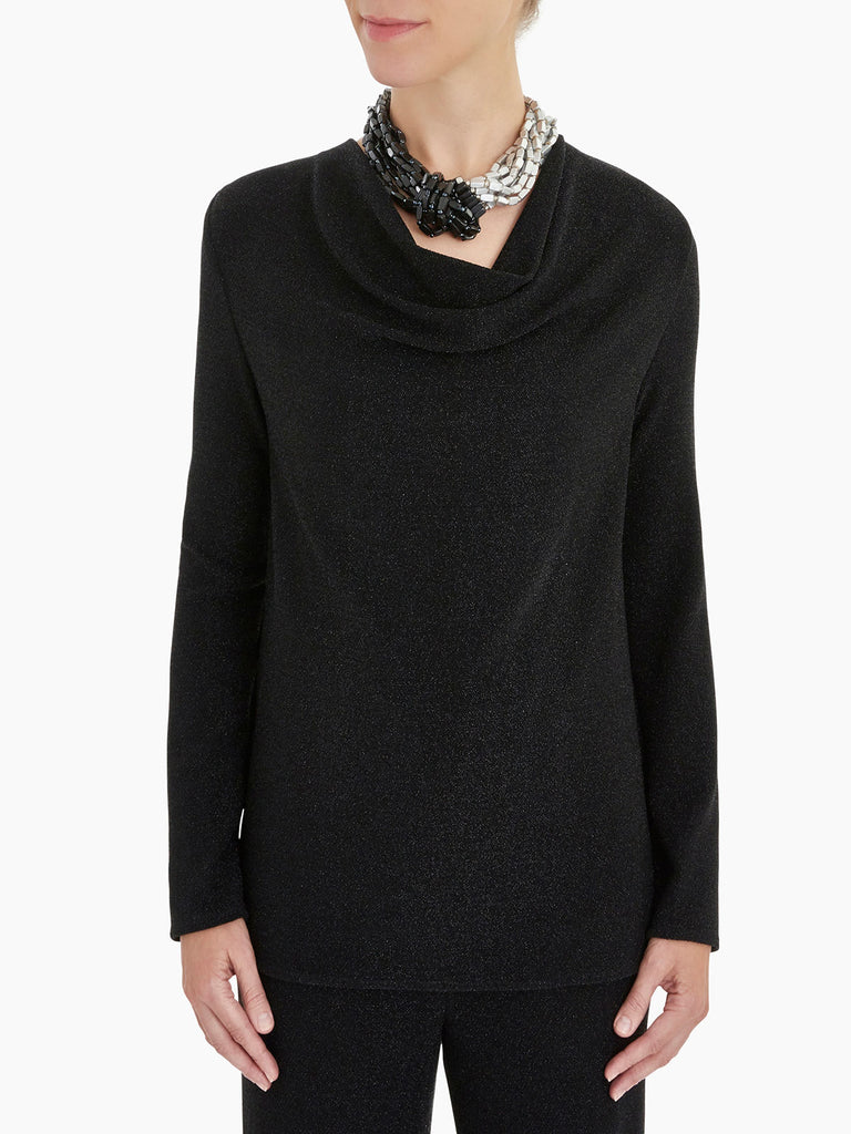 Sparkle Cowl Neck Tunic Color Black