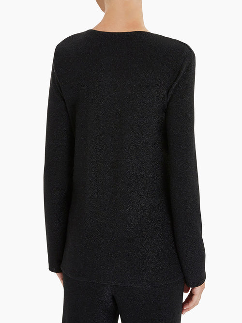 Sparkle Cowl Neck Tunic Color Black Premium Detail