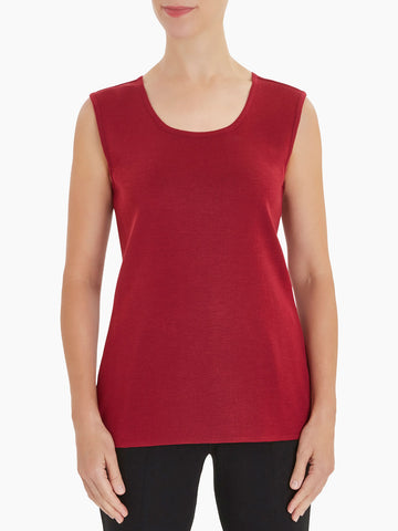 Plus Size Classic Knit Tank Top, Rapture Red