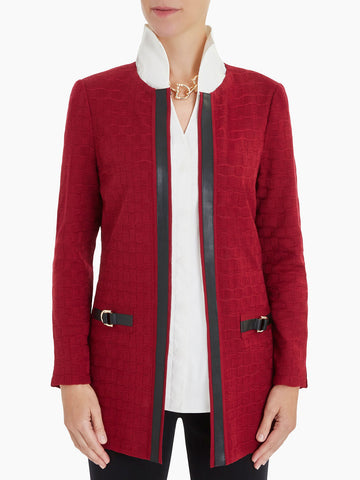 Plus Size Faux Leather Trim Grid Knit Jacket