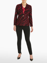 Tiger Stripe Knit Blazer Color Rapture Red/Black
