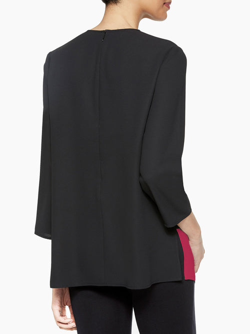 Colorblock Panel Blouse, Black/Rapture Red – Misook
