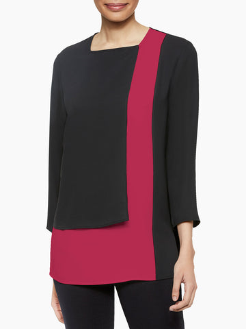 Colorblock Panel Blouse, Black/Rapture Red