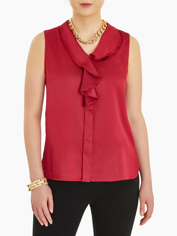 Plus Size Waterfall Ruffle Crepe de Chine Blouse, Rapture Red Color Rapture Red