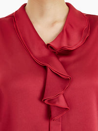 Waterfall Ruffle Crepe de Chine Blouse, Rapture Red Color Rapture Red Premium Detail