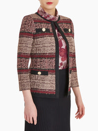 Plus Size Faux Suede and Tweed Knit Jacket Color Rapture Red/Black/Mahogany/Taupe
