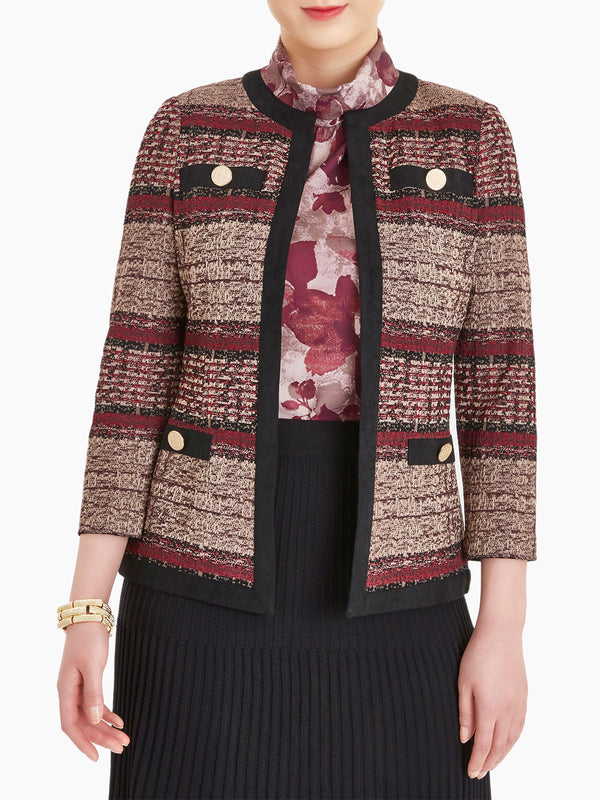 Faux Suede and Tweed Knit Jacket Color Rapture Red/Black/Mahogany/Taupe