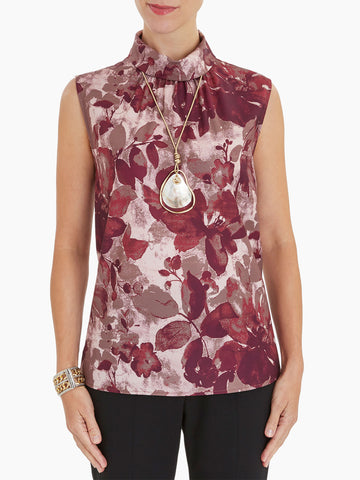 Floral Mock Neck Crepe de Chine Blouse