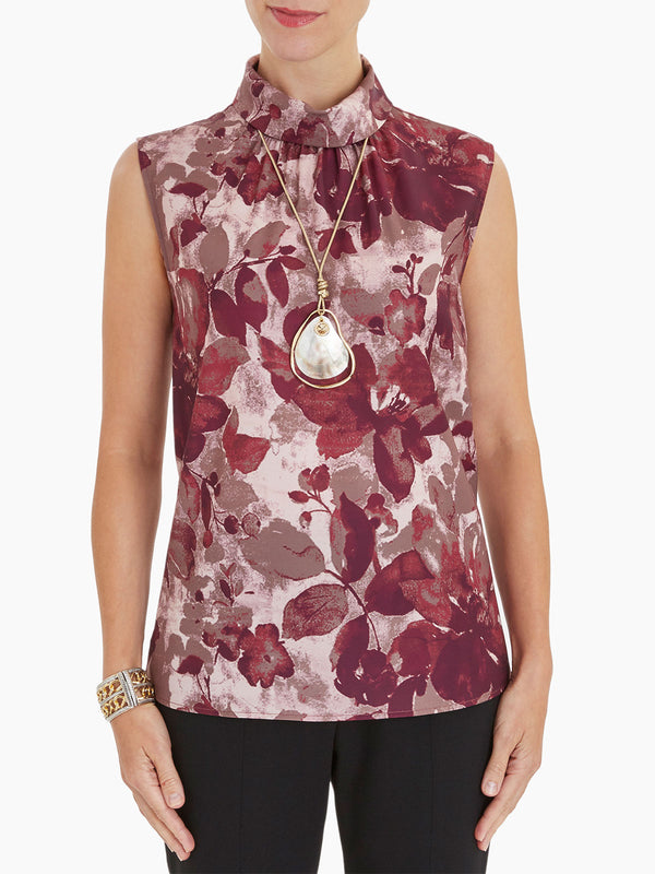 Floral Mock Neck Crepe de Chine Blouse Color Mahogany/Rapture Red/Taupe