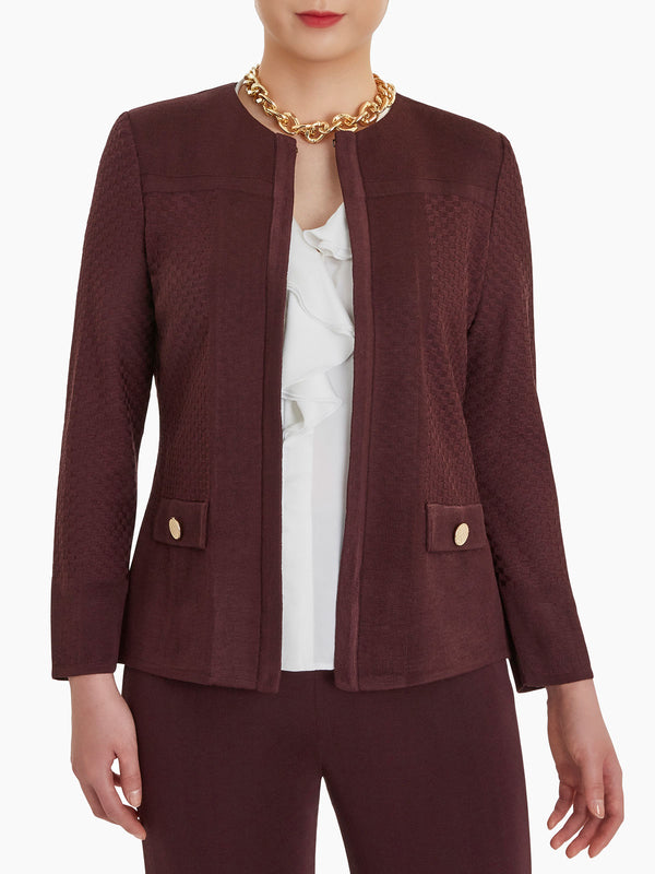 Dual Texture Solid Knit Jacket Color Mahogany