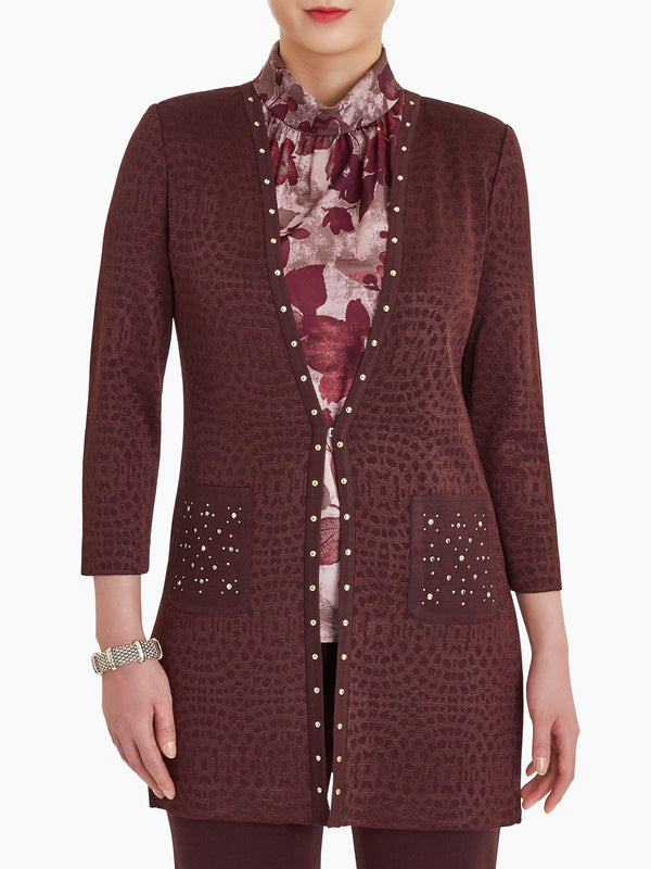 Stud Trim Pointelle Long Knit Jacket Color Mahogany/Rapture Red/Taupe