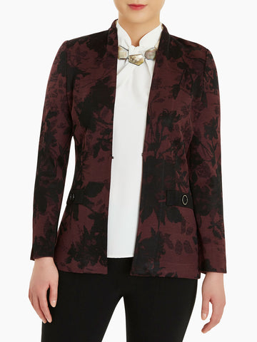Plus Size Floral Jacquard Knit Jacket, Mahogany/Black