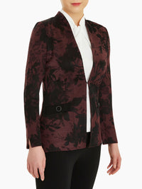 Floral Jacquard Knit Jacket, Mahogany/Black Color Mahogany/Black