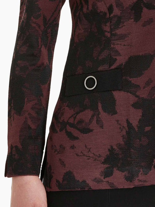 Floral Jacquard Knit Jacket, Mahogany/Black Color Mahogany/Black Premium Detail