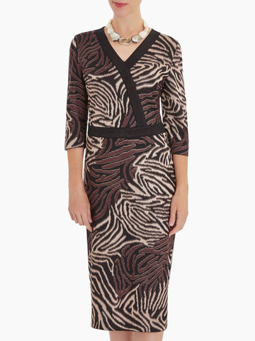 Tiger Swirl Faux Wrap Knit Dress