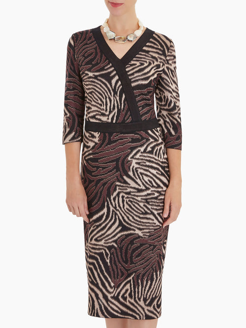 Tiger Swirl Faux Wrap Knit Dress – Misook