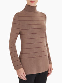 Stripe Knit Turtleneck Color Taupe/Mahogany Premium Detail