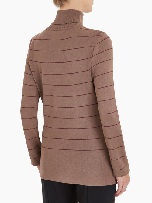 Stripe Knit Turtleneck Color Taupe/Mahogany