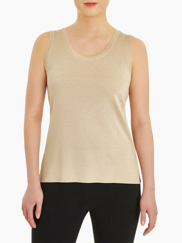 Double Scoop Neck Knit Tank Top, Gold
