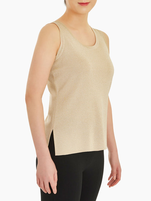 Plus Size Double Scoop Neck Knit Tank Top, Gold Color Gold Premium Detail