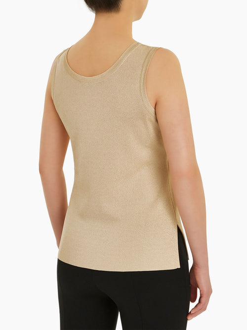 Plus Size Double Scoop Neck Knit Tank Top, Gold Color Gold