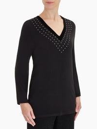 Stud Detail Velvet Trim Tunic Color Black
