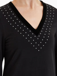 Stud Detail Velvet Trim Tunic Color Black Premium Detail