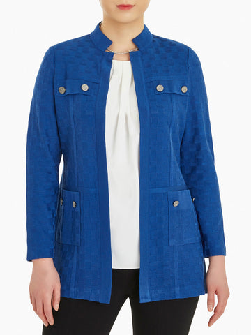Plus Size Pocket Detail Basketweave Knit Jacket