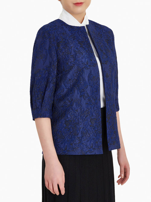 Puff Sleeve Embroidered Floral Woven Jacket – Misook