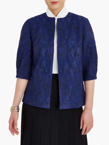 Puff Sleeve Embroidered Floral Woven Jacket