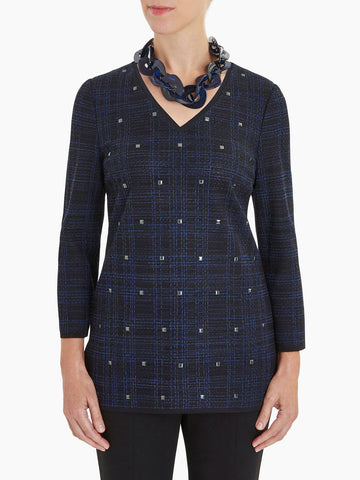 Plus Size Square Stud Detail Plaid Knit Tunic