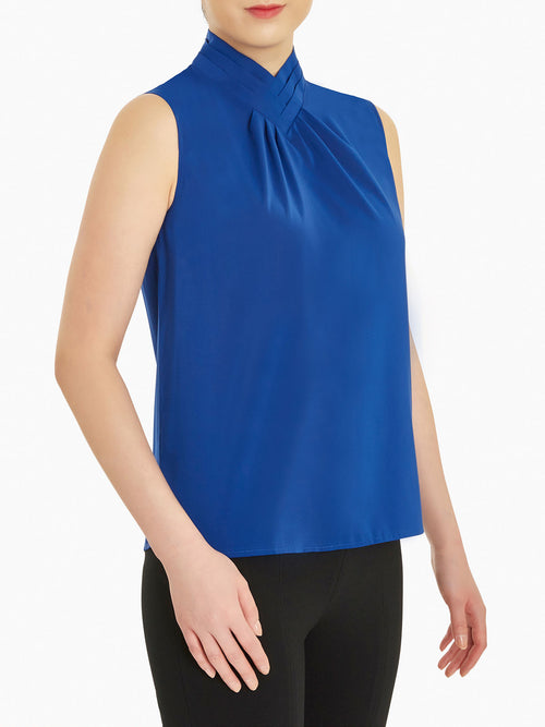 Pleated Collar Crepe de Chine Blouse, Palace Blue – Misook