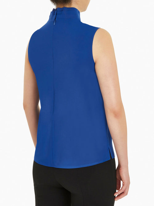 Pleated Collar Crepe de Chine Blouse, Palace Blue