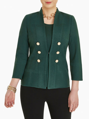 Plus Size Double Button Tonal Knit Blazer