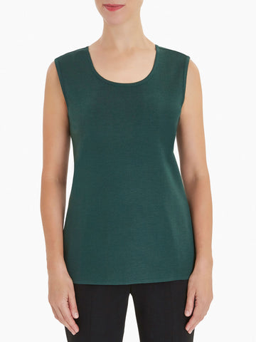 Plus Size Classic Knit Tank Top, Hunter Green