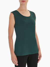 Plus Size Classic Knit Tank Top, Hunter Green – Premium Detail – Misook