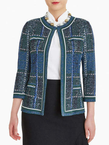 Mixed Plaid Jacquard Knit Jacket
