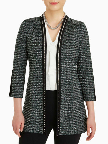 Plus Size Metal Trim Tweed Knit Jacket